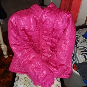 Hot pink puffer jacket
